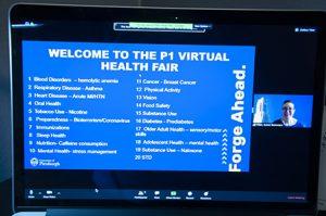 Screen Shot of Virtual Health Fair Subjects with moderator Karen Pater